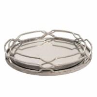 S/2 Metal 18/16  Round Trays, Silver Leaf - 1