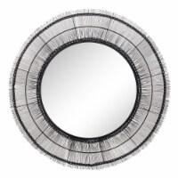 43  Round Wire Wall Art W/ Mirror, Black Wb - 1