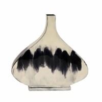 13 H Metal Vase, White - 1
