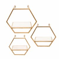 S/3 Metal/Wood Hexagon Wall Shelves, Gold - 1