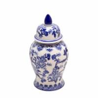 14  Temple Jar Bird/Flower, Blue - 1