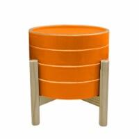 8  Striped Planter W/ Wood Stand, Orange - 1