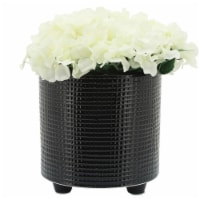 S/2 Weave Footed Planters 6/8 , Black - 1