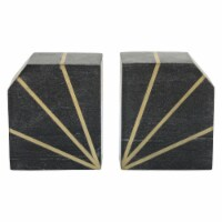 """S/2Marble 5""""H Polished Bookends W/Gold Inlays, Blk"""