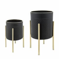 S/2 Scales Planter On Metal Stand, Blk/Gld - 1