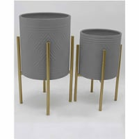 S/2 Aztec Planter On Metal Stand, Gray/Gold - 1