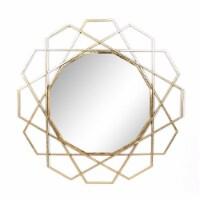 "Metal 35"" Geometric Mirror, Gold Wb"
