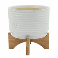 Cer, 7  Abstract Planter On Stand, White - 1