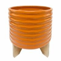 Cer, 11  Textured Planter W/ Stand, Orange - 1