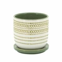 Cer, 5  Planter W/ Saucer, Olive - 1
