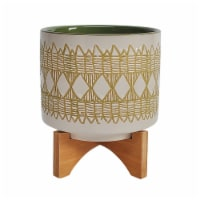 Ceramic 11  Aztec Planter On Wooden Stand, Olive - 1