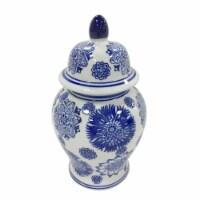 "Cer, 10""H Asstd Flowers Temple Jar, Blue"