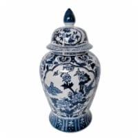 Cer, 18 H Flowers Temple Jar, Blue - 1