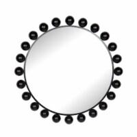 "Metal, 42""H, Round Mirror, Black"