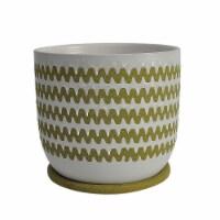 Cer, 8  Zigzag Planter W/ Saucer, Olive - 1