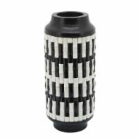 """Resin, 14""""H Tribal Vase, Black/White"""