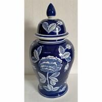 "Cer, 18""H Flower Temple Jar, Wht/Blu"