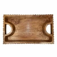 Wood, 25 X15 , Scalloped Edge Tray, Natural - 1