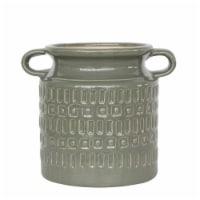Cer, 7 H Jar W/ Handles, Olive - 1
