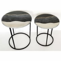"""Metal, S/2 22/24"""" Round Side Tables, Black/White"""