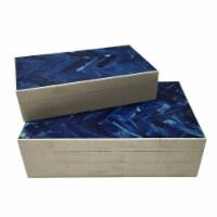 Resin S/2 Herringbone Boxes, Navy - 1