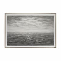 62X42 Ocean Painting, Gray On Silver Frame - 1