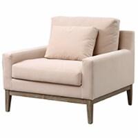Wood, Bolstered Accent Chair, Ecru