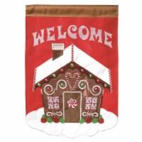 Dicksons M011056 13 x 18 in. Double Applique Welcome Gingerbread Burlap Garden Flag