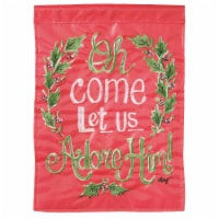 Dicksons M011069 13 x 18 in. Double Applique Oh Come Let Us Adore Polyester Garden Flag - 1