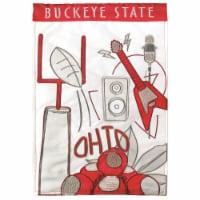Dicksons M010114 13 x 18 in. Flag Double Applique Ohio Buckeye State Polyester Garden