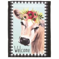 Dicksons M080068 13 x 18 in. Flag Print Welcome Cow Floral Polyester Garden