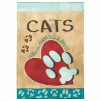 Dicksons M010136 13 x 18 in. Flag Double Applique Cats Leave Pawprints Burlap Garden