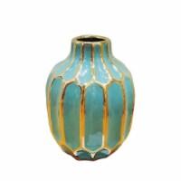 Turquoise/Gold Ceramic Vase 8 - 1