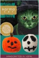 Karma Cat Halloween Skull and Jack-O-Lantern Wool Cat Toys, Pack of 2 - 1