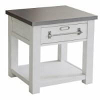 Metal Top Farmhouse White Side Table - 1