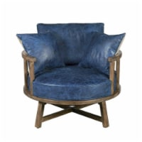 Home Fare Leather Swivel Club Chair with Wood Base in Navy Blue - 1