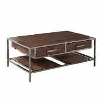 Brown Wood and Metal Modern Cocktail and End Table Set - 1