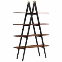 A-Frame Modern Wood Shelf Bookcase in Walnut Brown - 1
