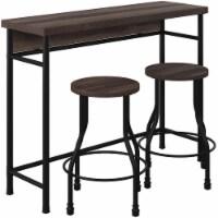 Industrial Sofa Bar Table with 2 Stools in Dark Oak - 1