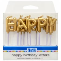 DecoPac Bakery Crafts Gold Happy Birthday Letter Candles