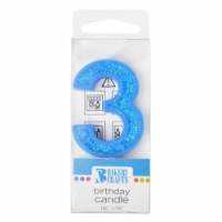 Bakery Crafts Glitter Blue 3 Birthday Candle