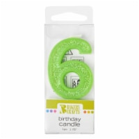 Bakery Crafts Glitter Green 6 Birthday Candle