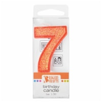 Bakery Crafts Glitter Orange 7 Birthday Candle