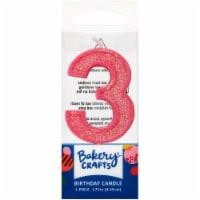 DecoPac Three Birthday Candle Cake Decoration - Pink - 1 ct
