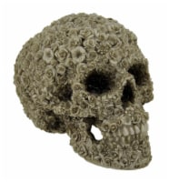 Late Bloomer Flower Covered Human Skull Statue - One Size