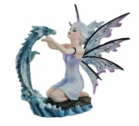 Opaline the Iridescent Water Fairy Holding Surfacing Blue Water Dragon Statue - One Size