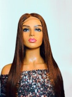 2Chique Boutique Human Hair Wig 4x4 Transparent Lace Wig Chestnut Brown  28 inches - One Size Fits all
