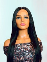 2Chique Boutique Human Hair Wig 4x4 Transparent Lace Wig Color 1b Silky Straight 20 inches - One Size Fits all
