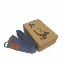 Laser Engraved Cork Block & Strap Combo (Blue) - 1