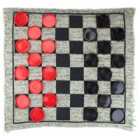 Giant 3-in-1 Checkers & Mega Tic Tac Toe with Reversible Rug